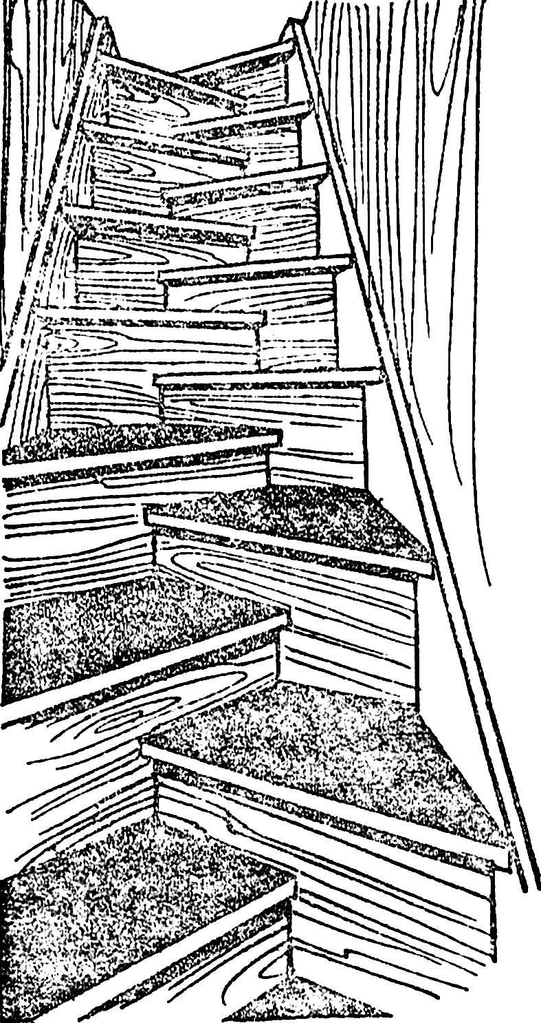 Рис. 2. Лестница типа «елочка».