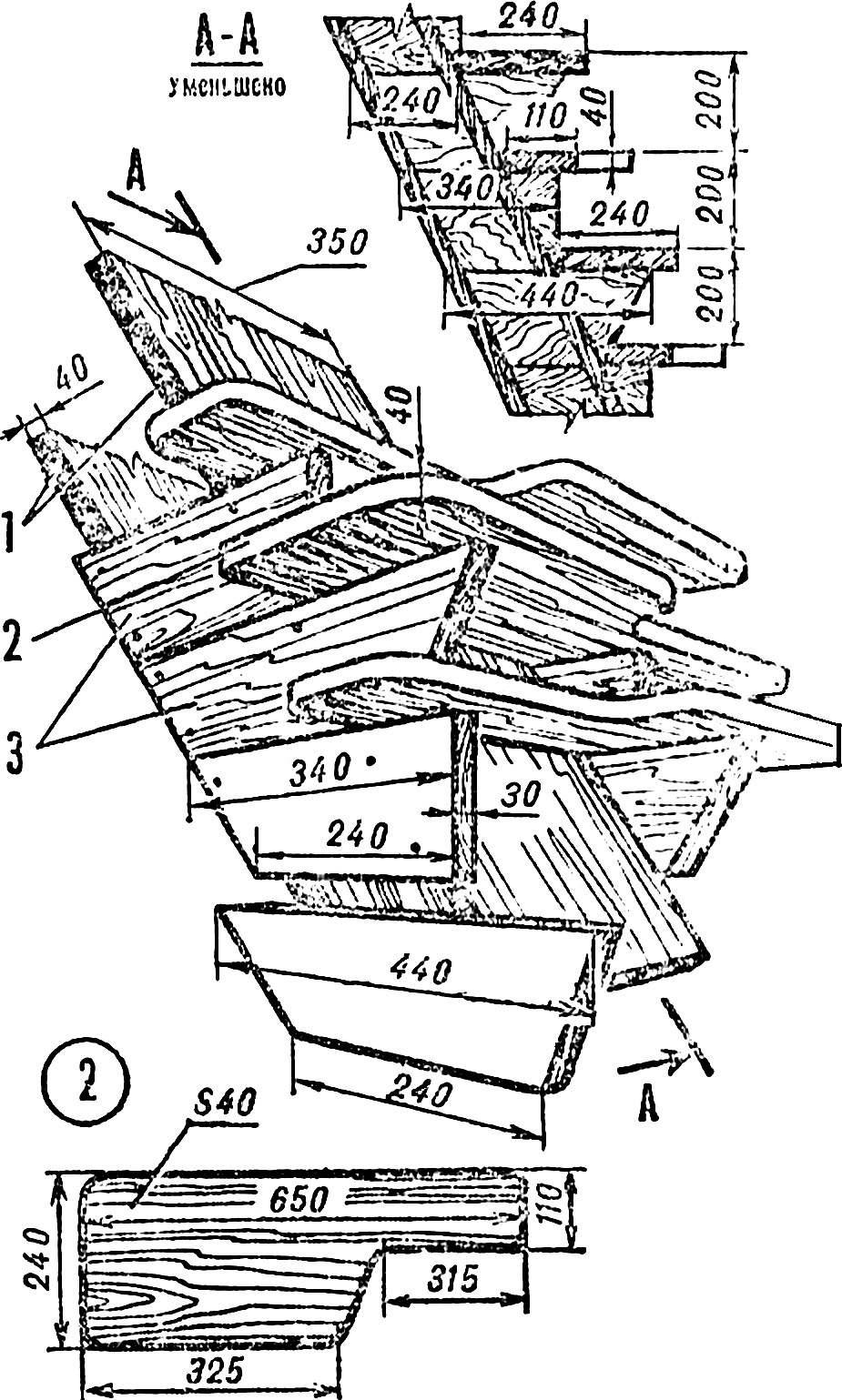 Рис. 3. Одномаршевая лестница коробчатого типа и ее элементы.