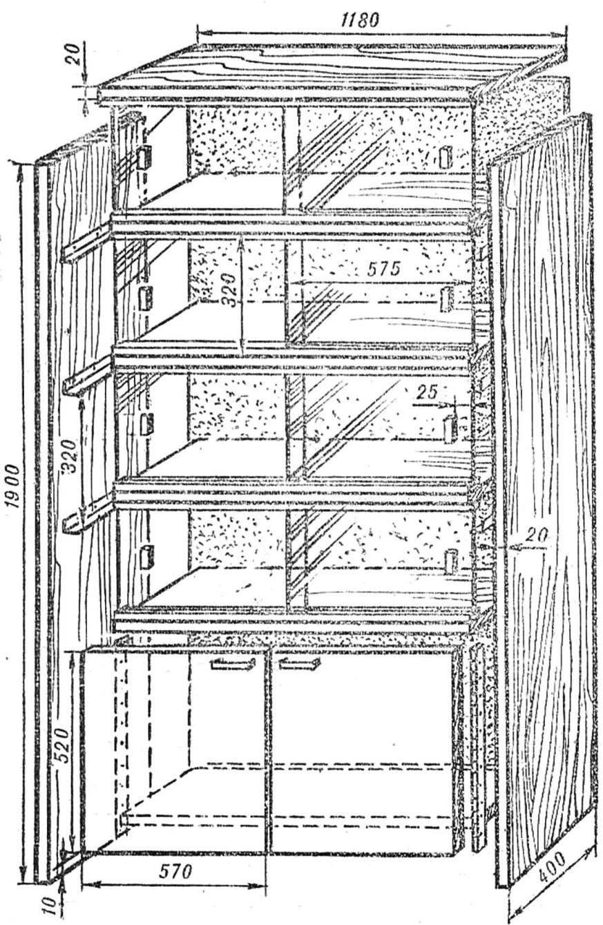 На этой схеме шкафа размеры даны применительно к частным условиям определенного места в комнате, а значит, могут меняться.