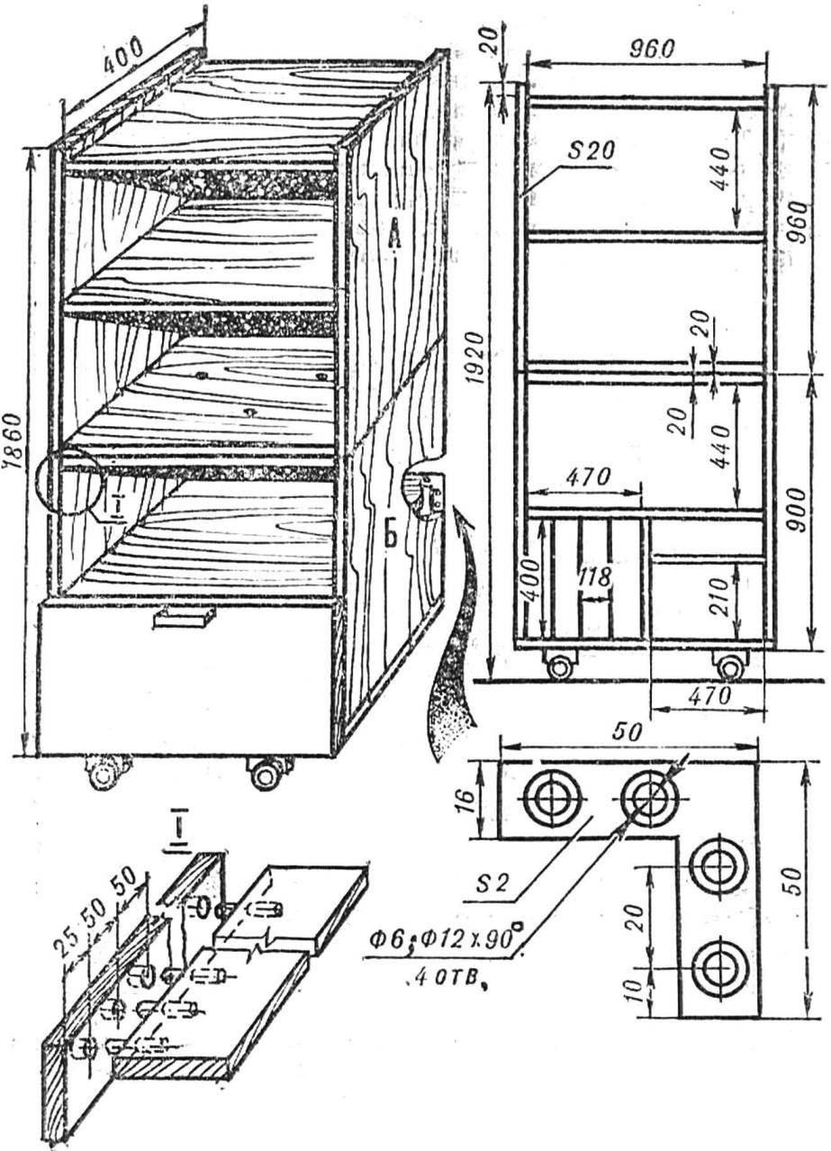 Размеры шкафа и его элементы.
