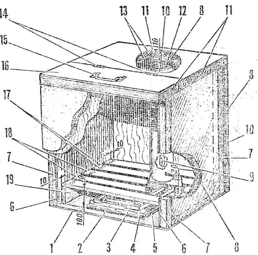 Рис. 2. Конструкция контейнера (передняя стенка ящика с утеплением условно не показана)