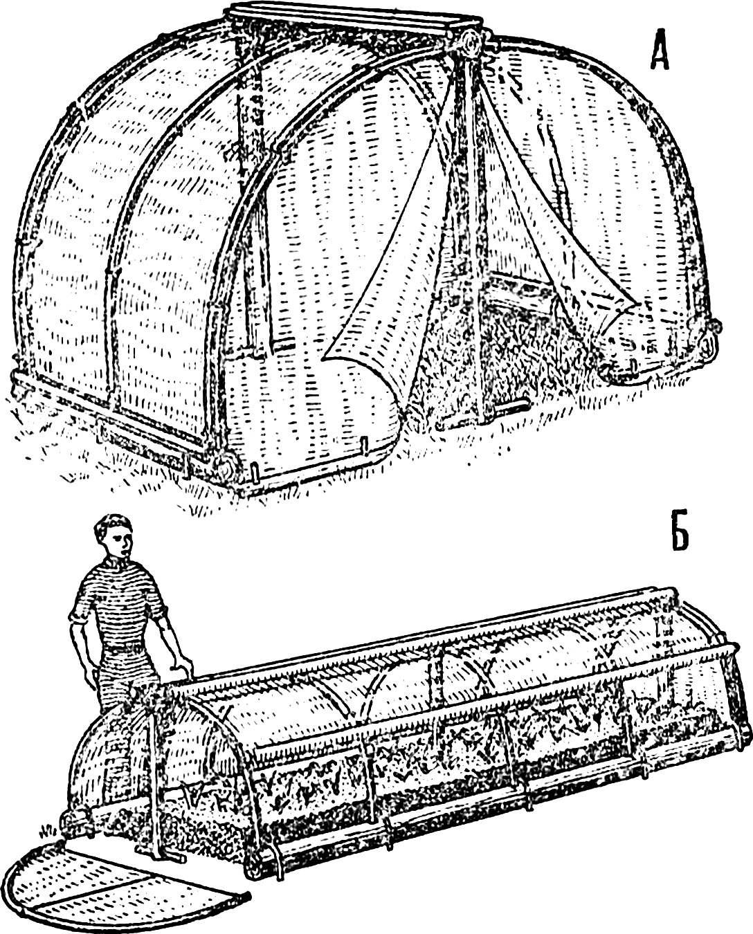 Рис. 1. Варианты использования арочной конструкции на основе гибких прутьев.