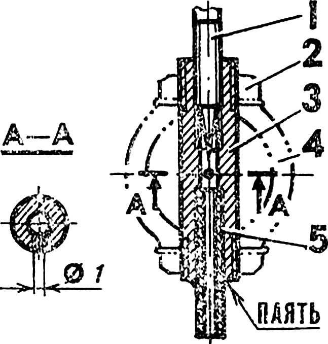 Восстановленный жиклер модельного микродвигателя.