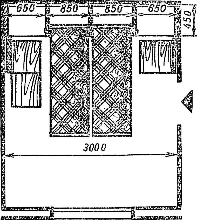 Рис. 1. План комнаты с комбинированной стенкой, вариант «спальня».