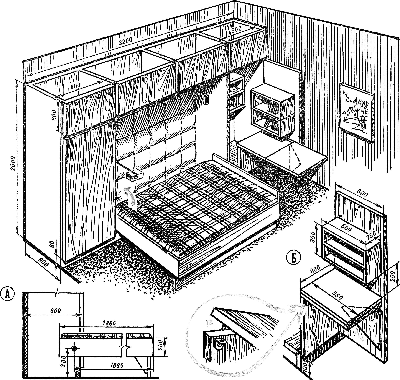 Рис. 4. Вариант решения кроватной секции — с продольной двухспальной лежанкой.
