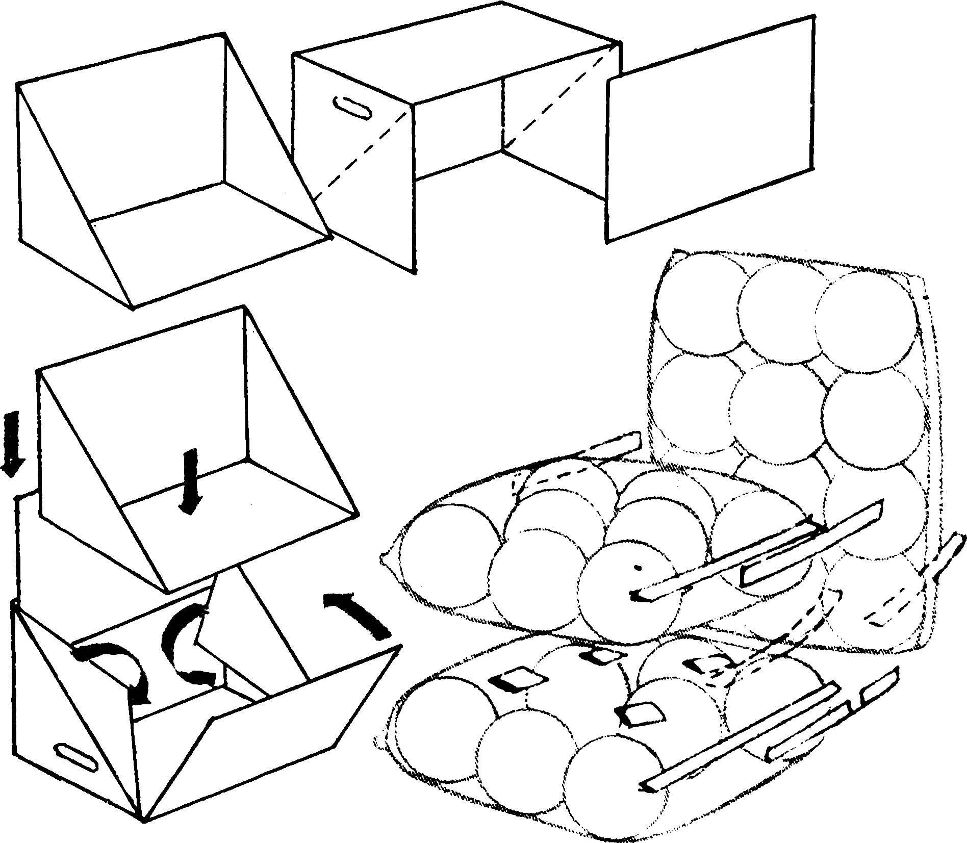 Воздушные шары, уложенные в пленочные чехлы, соединенные клейкой лентой и вставленные в картонный каркас из тарного ящика.