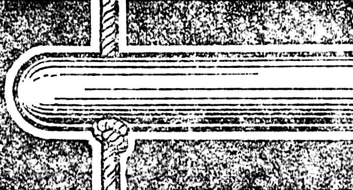 Крепление палки с помощью узла.