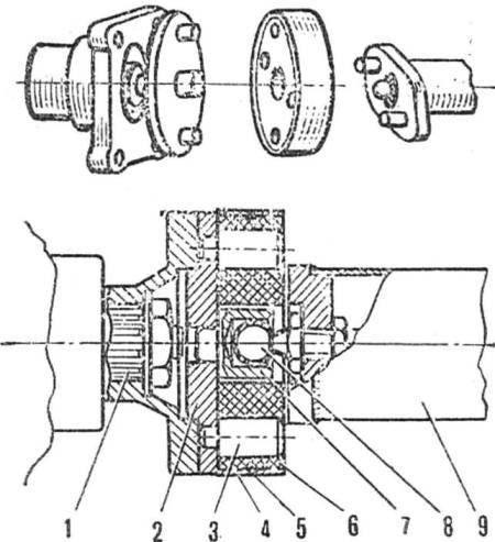 Рис. 6. Упругая пальцевая муфта соединительного вала