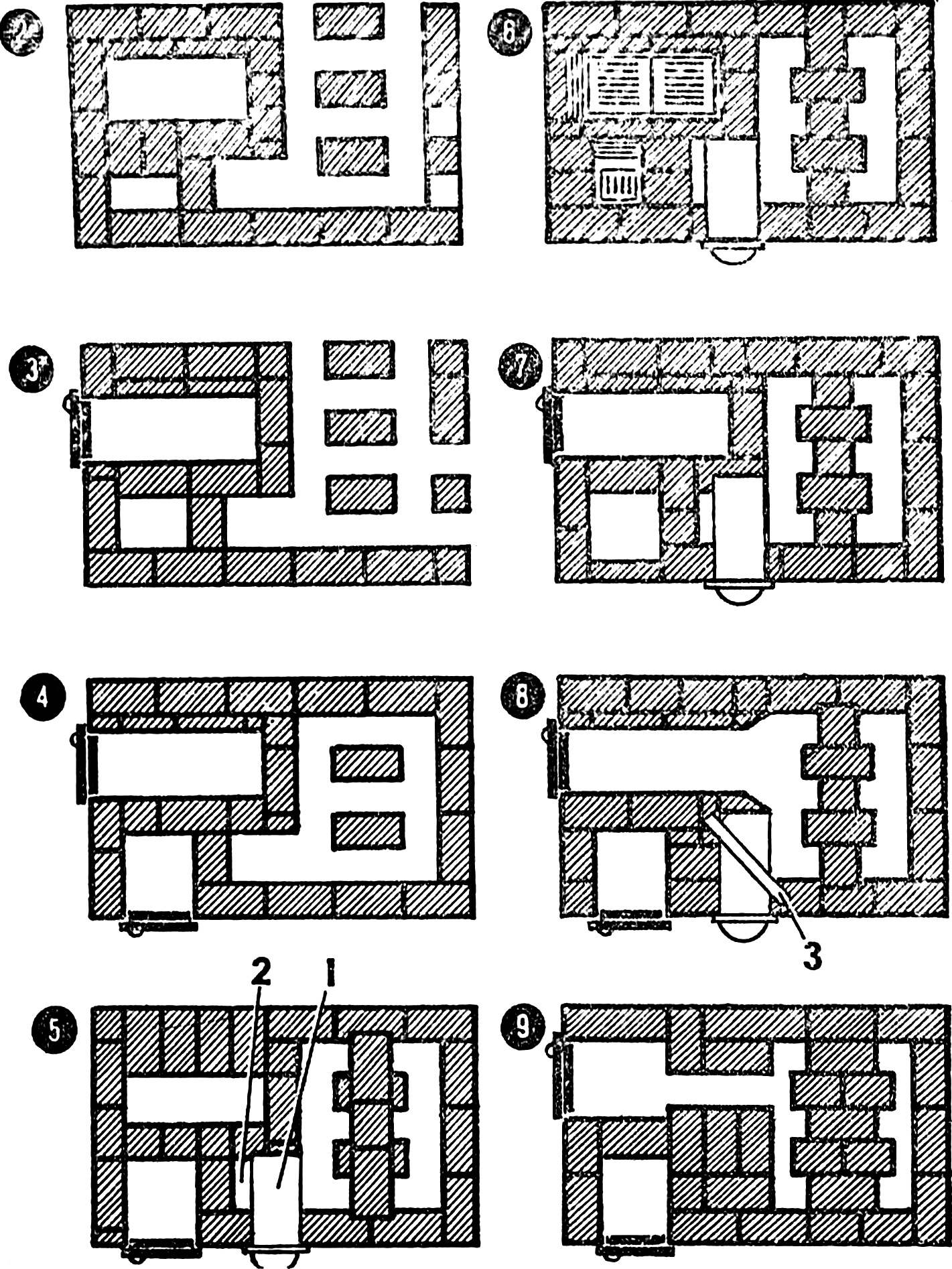 Рис. 3. Кладка рядов с водогрейной коробкой.