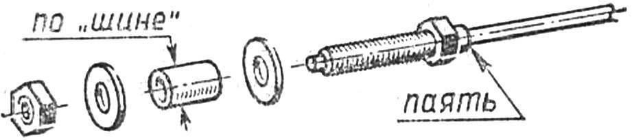 Рис. 4. Типовая оконцовка оси под установку колеса из круглого ластика.