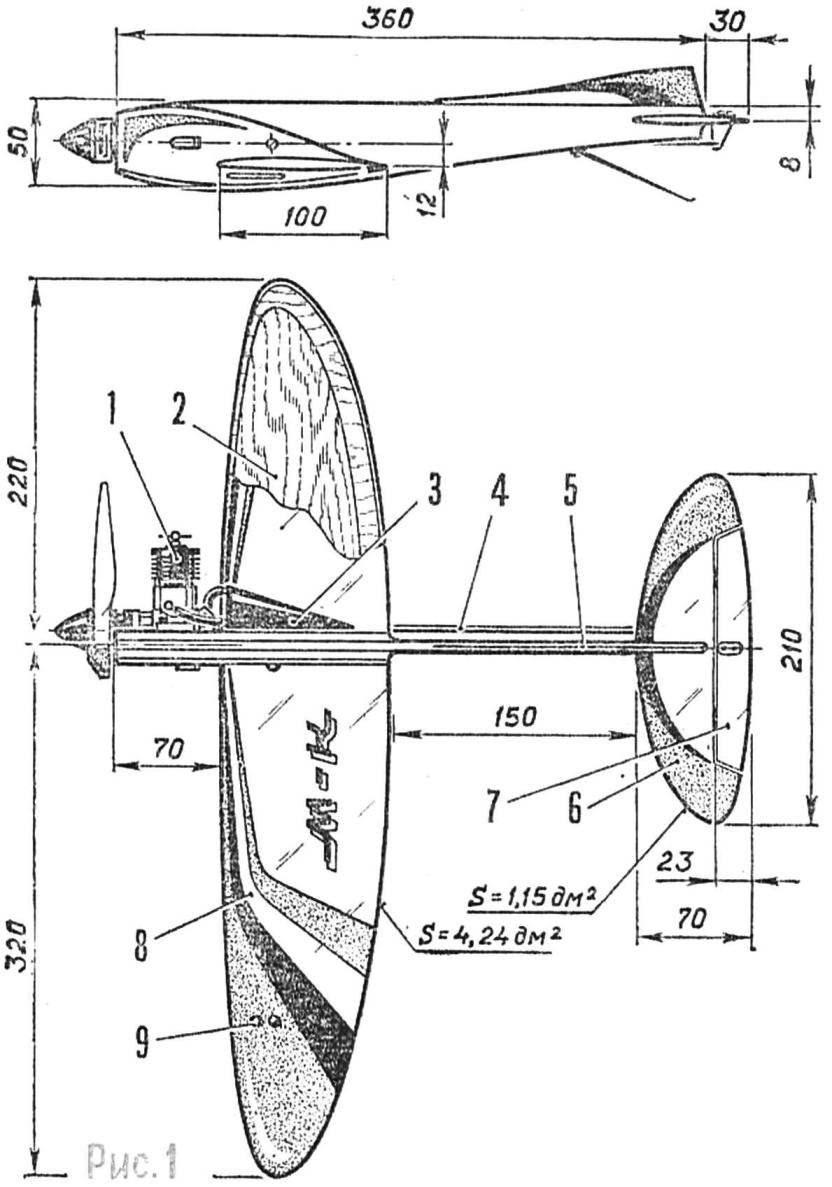 Рис. 1. Скоростная кордовая учебная модель самолета