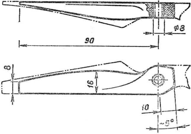 Р и с. 8. Схема доработки серийного капронового воздушного винта 200X200 мм для двигателя КМД-2,5.