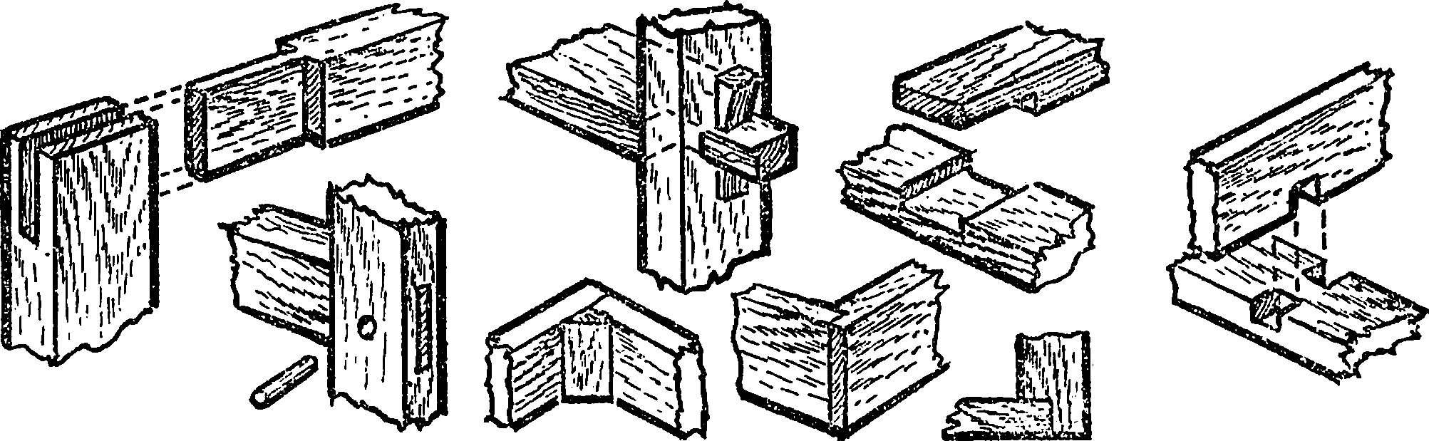 Варианты шиповых соединений деревянных деталей мебельных конструкций.