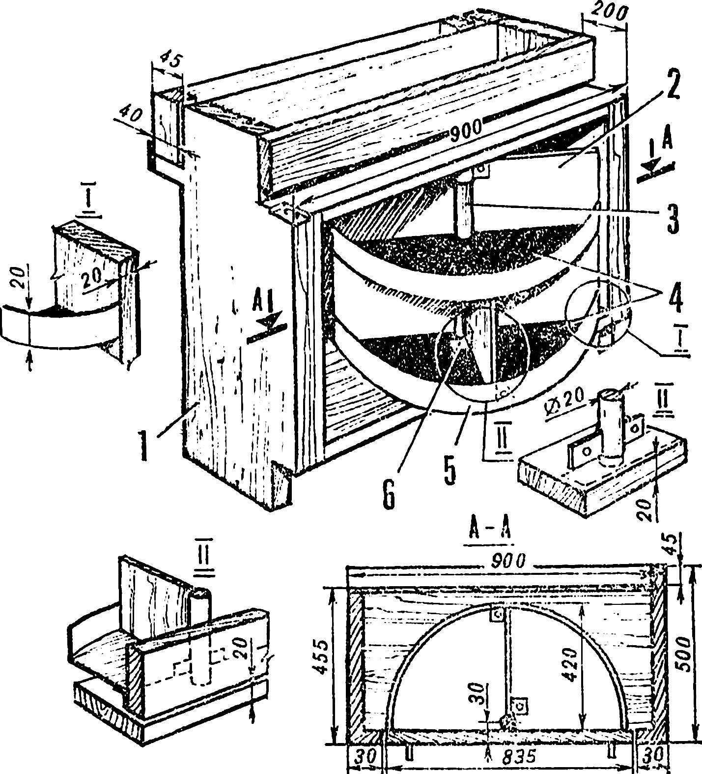Рис. 3. Устройство вращающихся полок в тумбе.