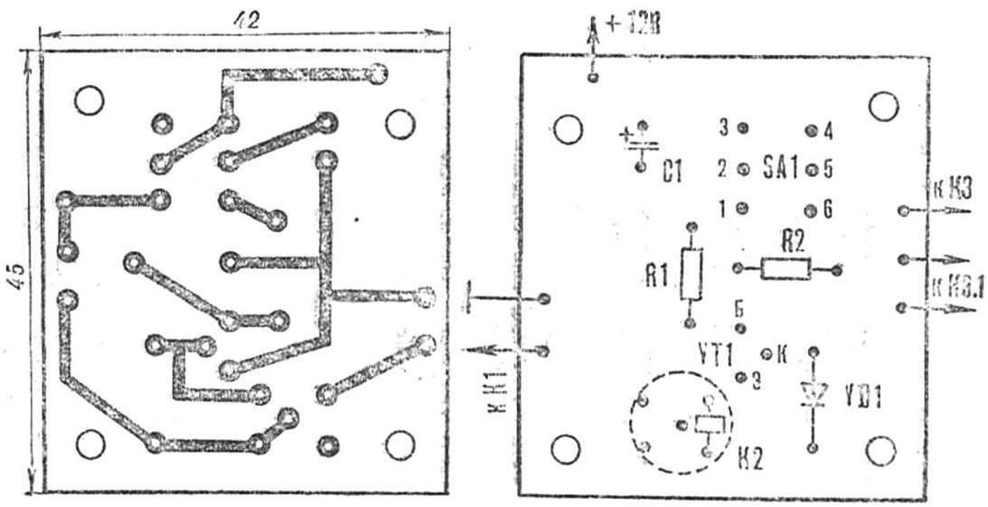 Рис. 4. Монтажная плата упрощенного «сторожа» со схемой расположения деталей