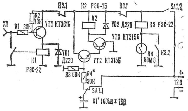 Fig. 5. A schematic diagram of a guard device with a time relay on a composite transistor.