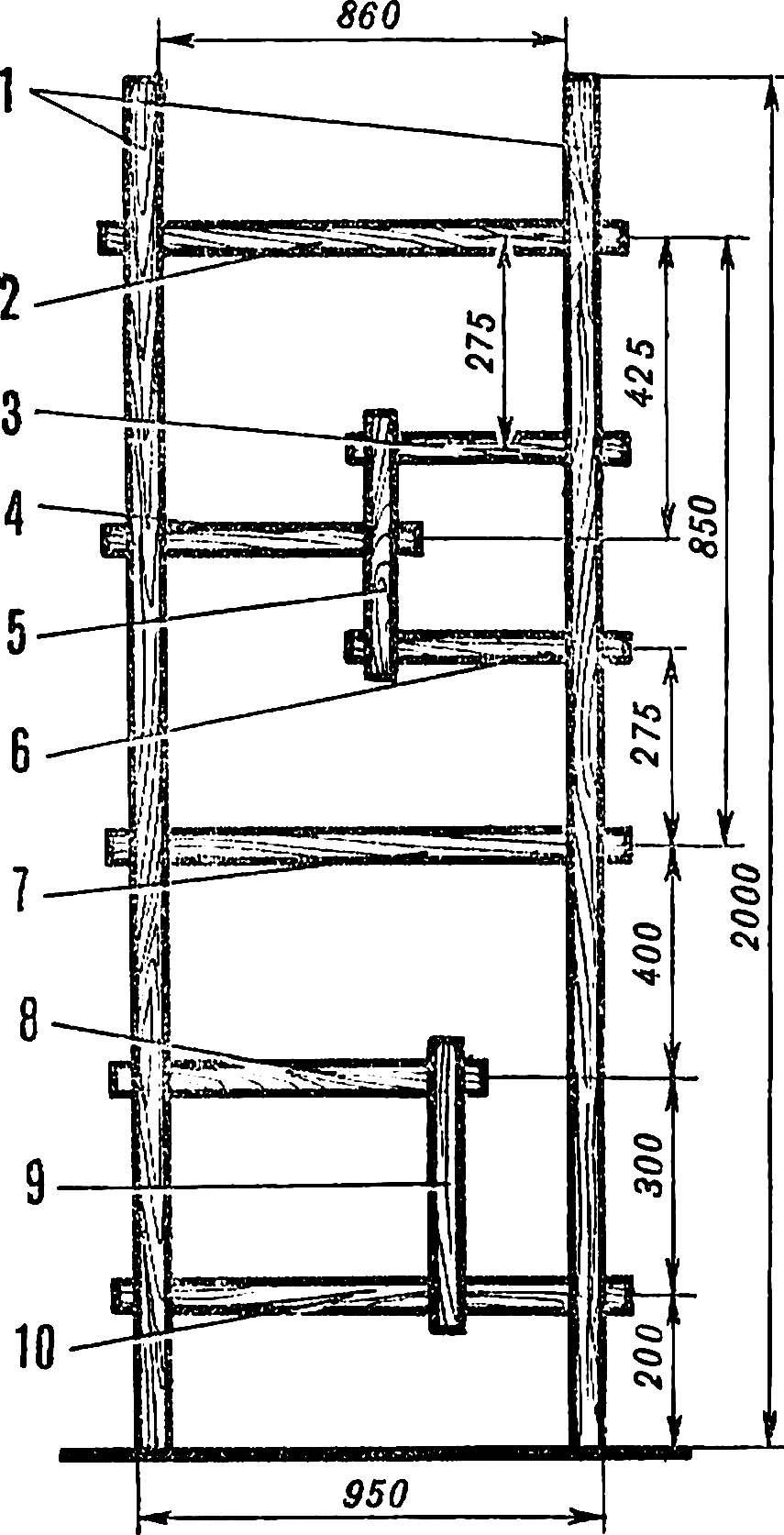 Рис. 1. Схема этажерки.