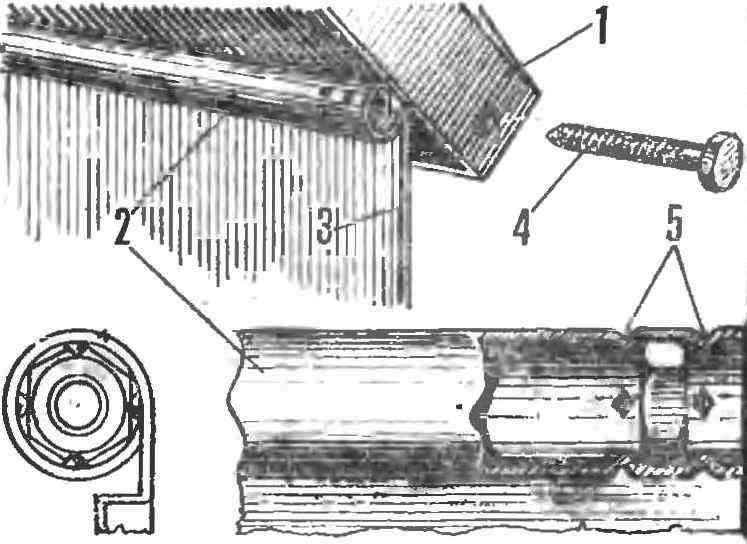 Рис. 3. Соединение крыши с боковой стенной