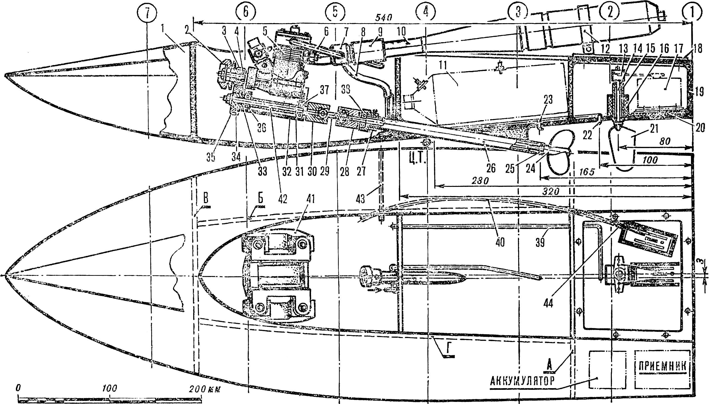 Рис. 3. Радиоуправляемая судомодель для длительных гонок с микродвигателем рабочим объемом 3,5 см3.