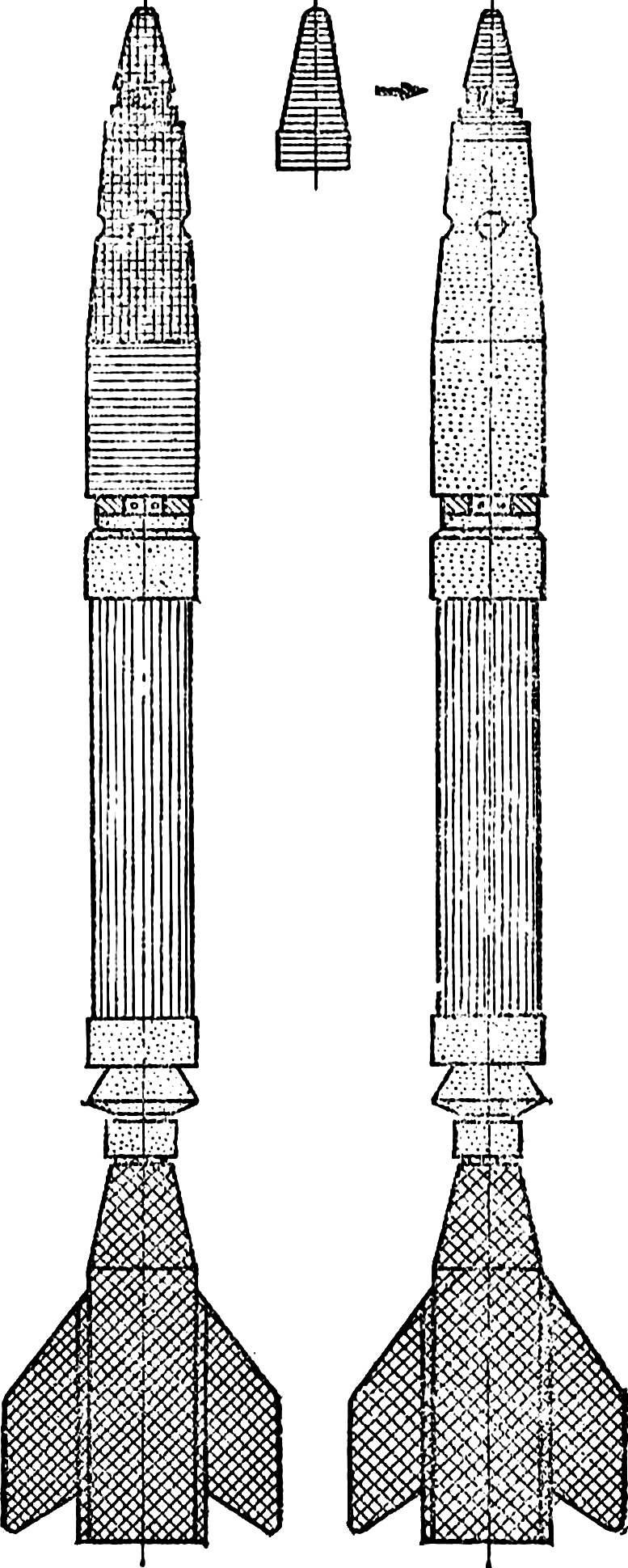 Рис. 2. Схема окраски ракеты (два варианта).