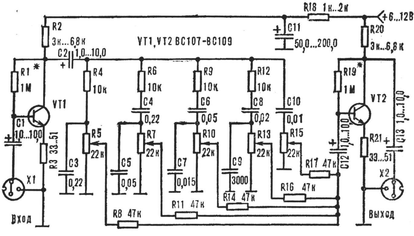 Five Band Equalizer Model Construction Schematic Design
