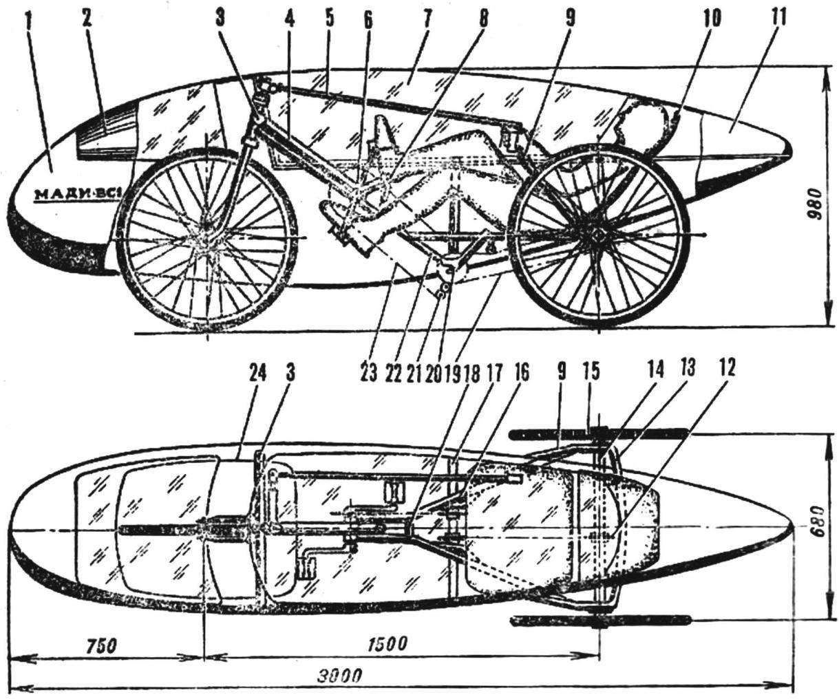 Рис. 1. Компоновка веломобиля (тормозной механизм на переднем колесе не показан)