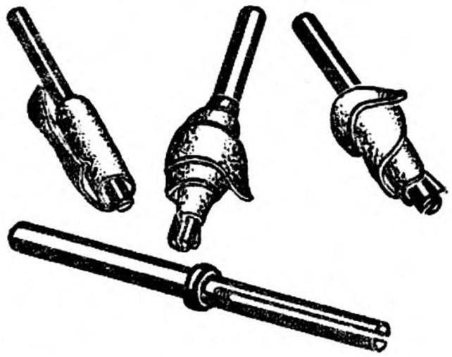 Рис. 1. Шлифовальные из шкурки и оправка к ним