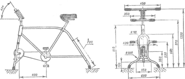 Рис. 1. Схема тренажера (на виде спереди часть узлов условно не показана).