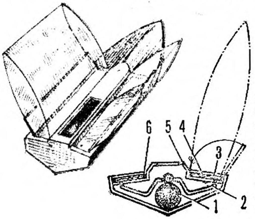 Рис. 1. Автоматическое спасательное устройство для скоростной судомодели