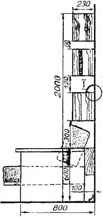 Fig. 3. Recommended height tier hanging shelves with the couch.