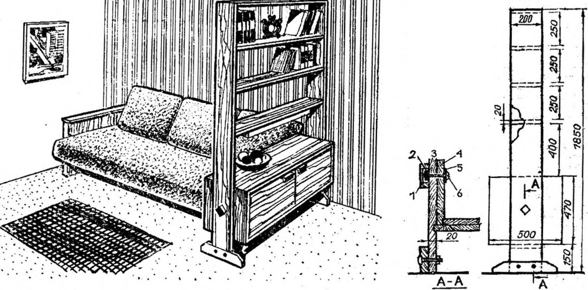 Рис. 6. Основные размеры книжного шкафа-перегородки и способы крепления его узлов