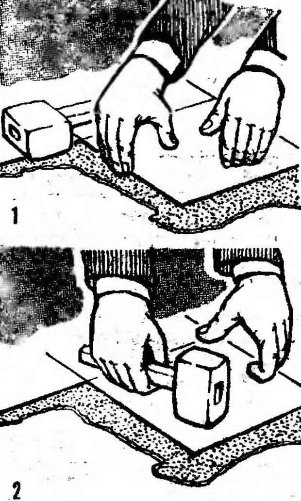 Рис. 9. Настилка ПХВ-плитки на пол