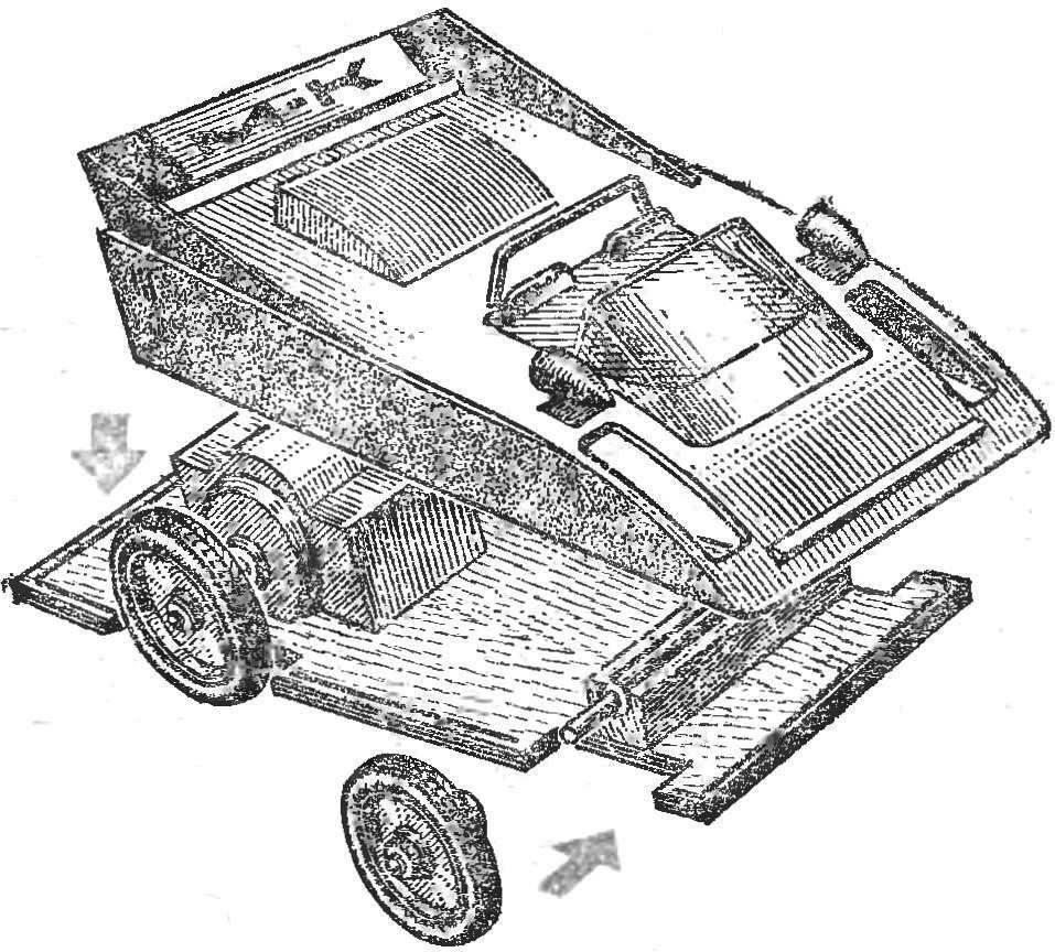Автомодель класса ЭЛ-2 с микродвигателем ЧДП с прямой передачей. Полукопия гоночного автомобиля.