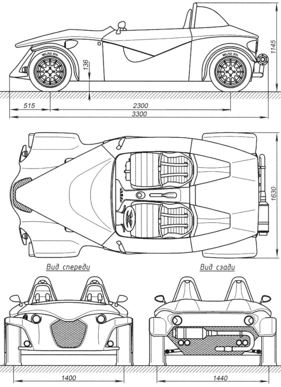 Автомобиль-родстер FOX: основные геометрические характеристики