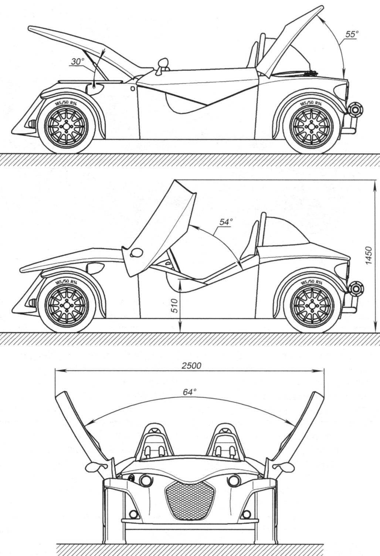 Схема открытия крышки багажника (впереди), капота моторного отсека (сзади) и дверей (по бокам)