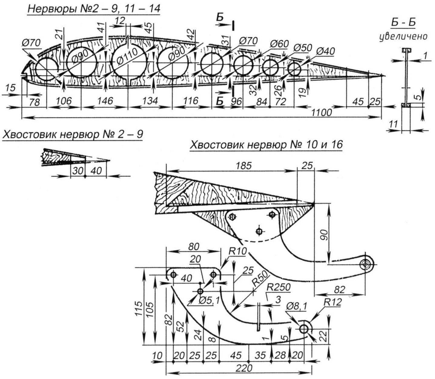 Нервюры крыла и элерона, взаимоположение крыла и элерона