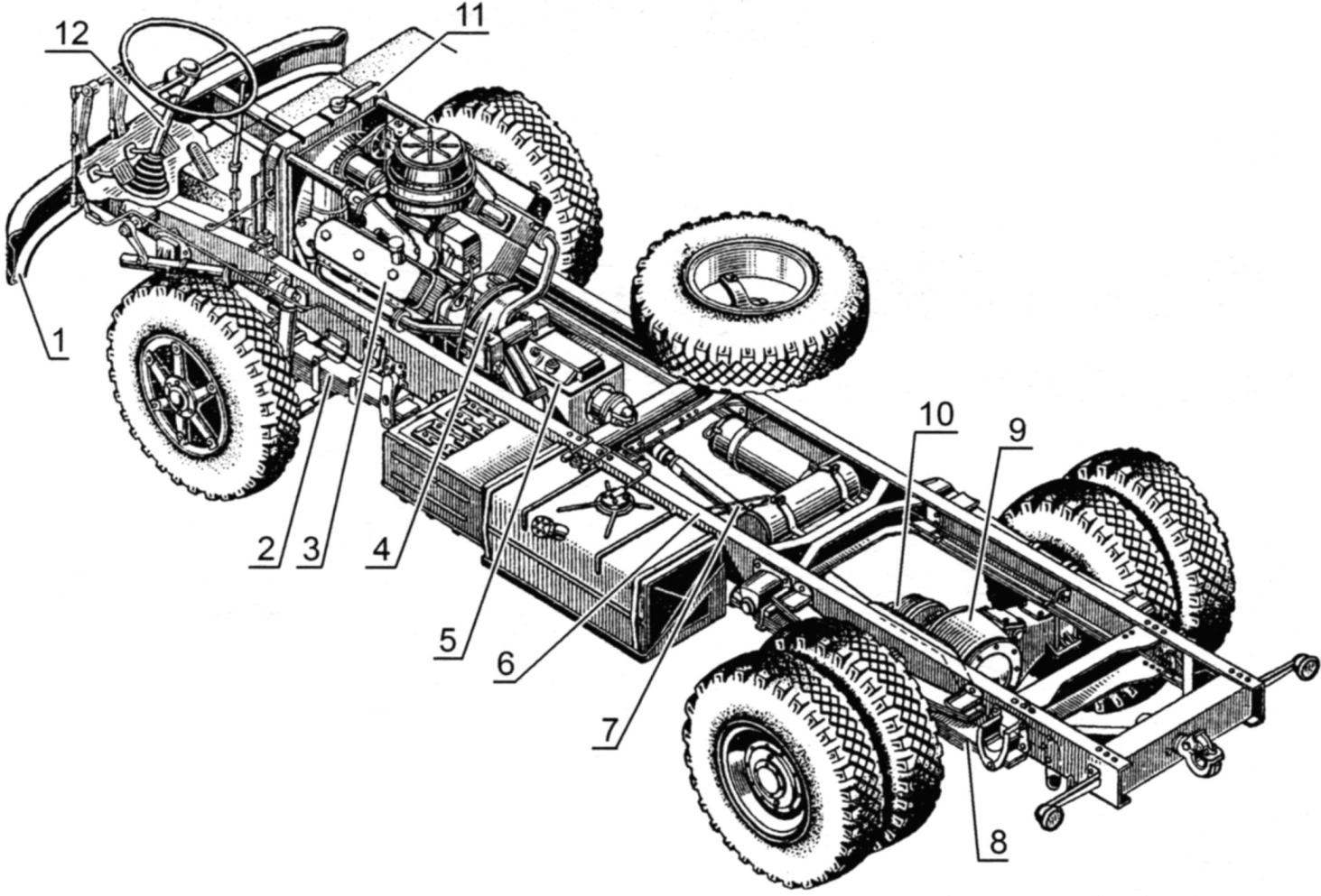 The layout of the chassis of MAZ-500