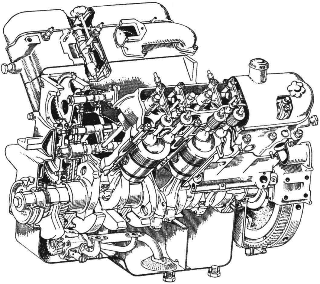 Четырёхтактный 6-цилиндровый _ дизельный двигатель ЯМЗ-236 автомобиля МАЗ-500
