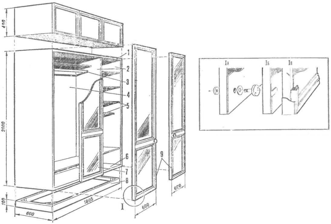 Рис. 1. Зеркальный шкаф