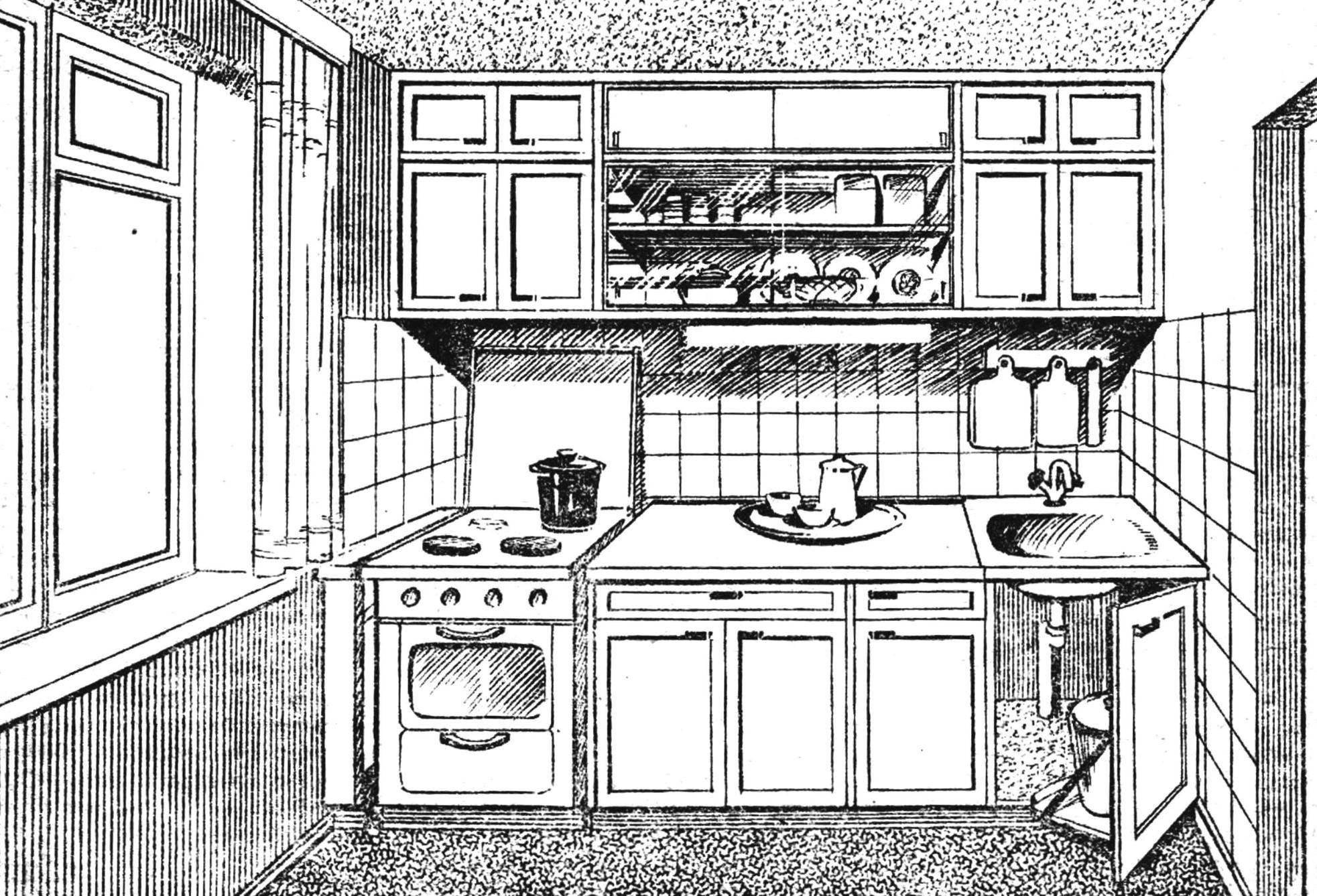 Рис. 1. Самодельный кухонный шкаф-стенка.