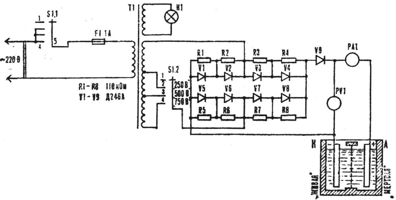 Принципиальная схема установки для электролиза воды.