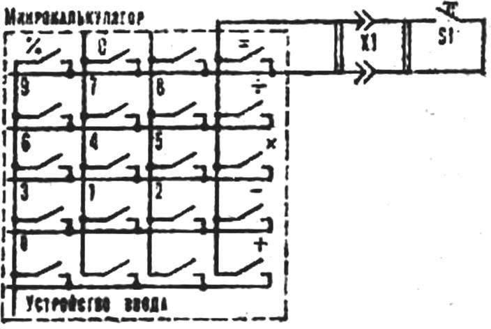 Электрическая схема включения микрокалькулятора.