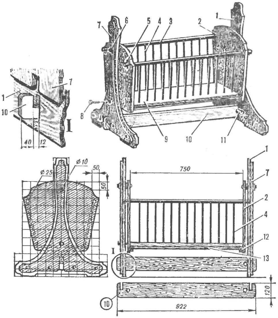 Рис. 1. Деревянная кровать-люлька
