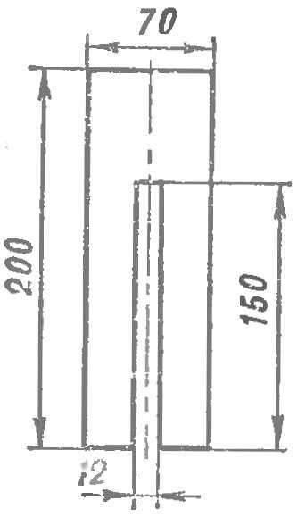Р и с. 2. Шаблон для выпиливания пазов.