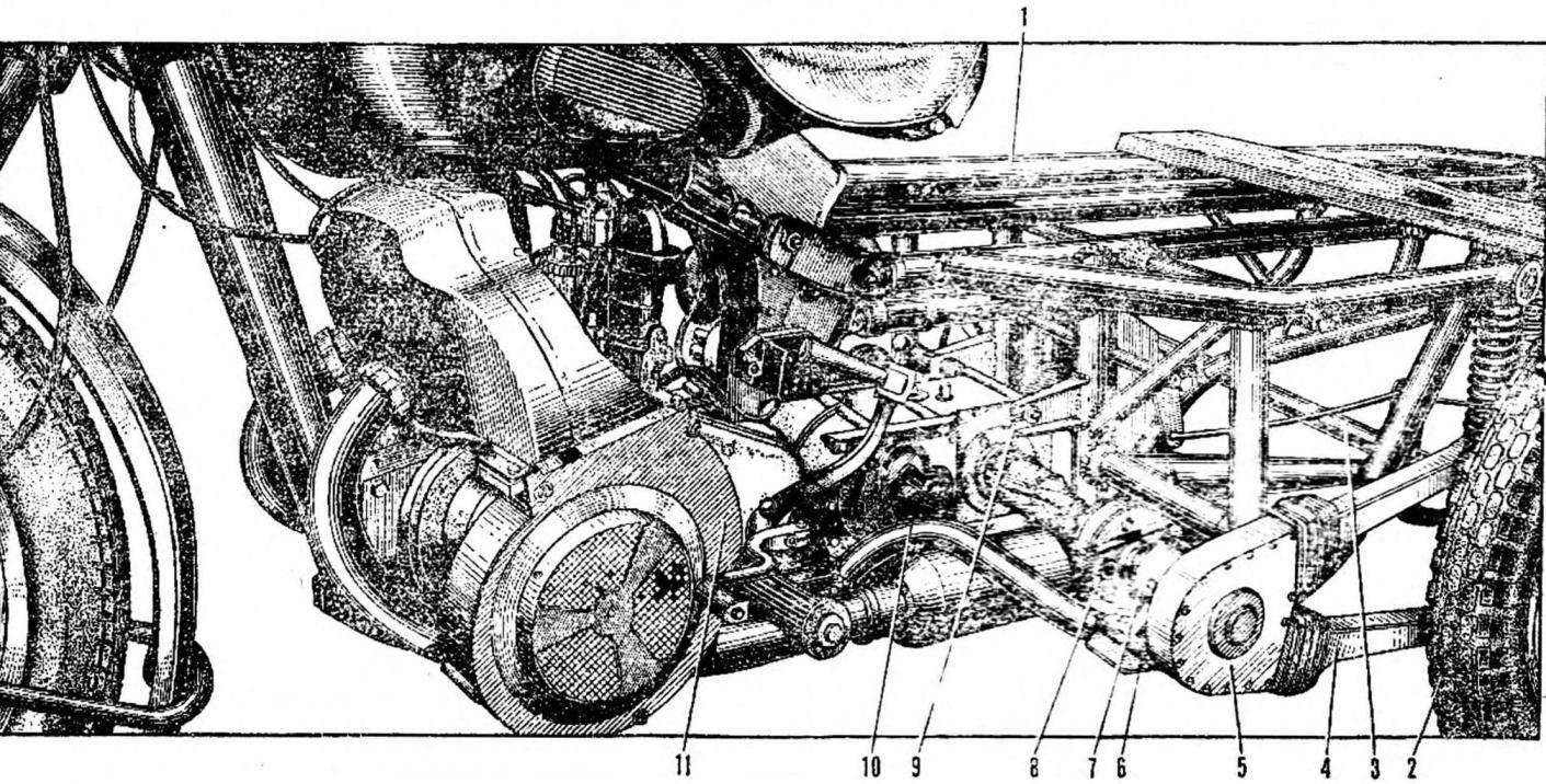 Рис. 1. Компоновка основных узлов и агрегатов тягача