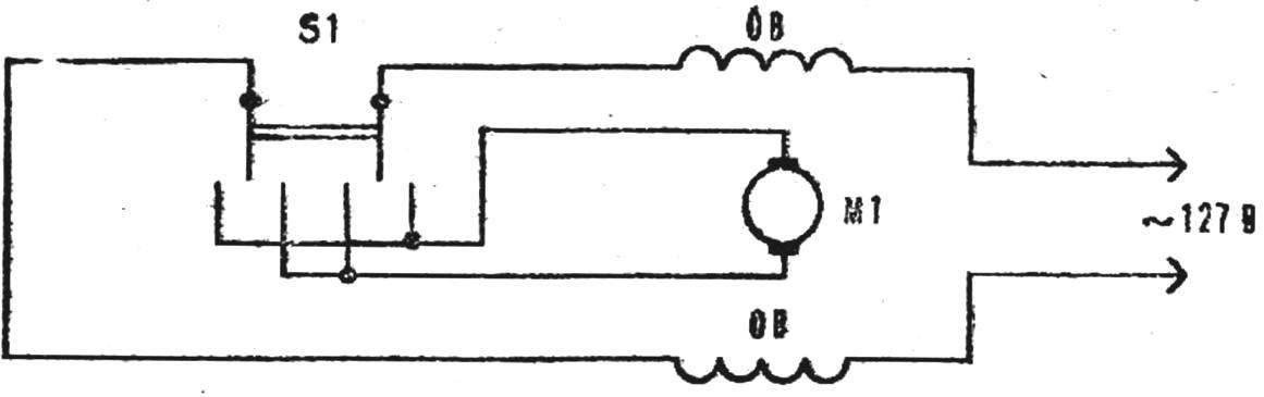 Рис. 6. Электросхема станка с реверсным переключателем.