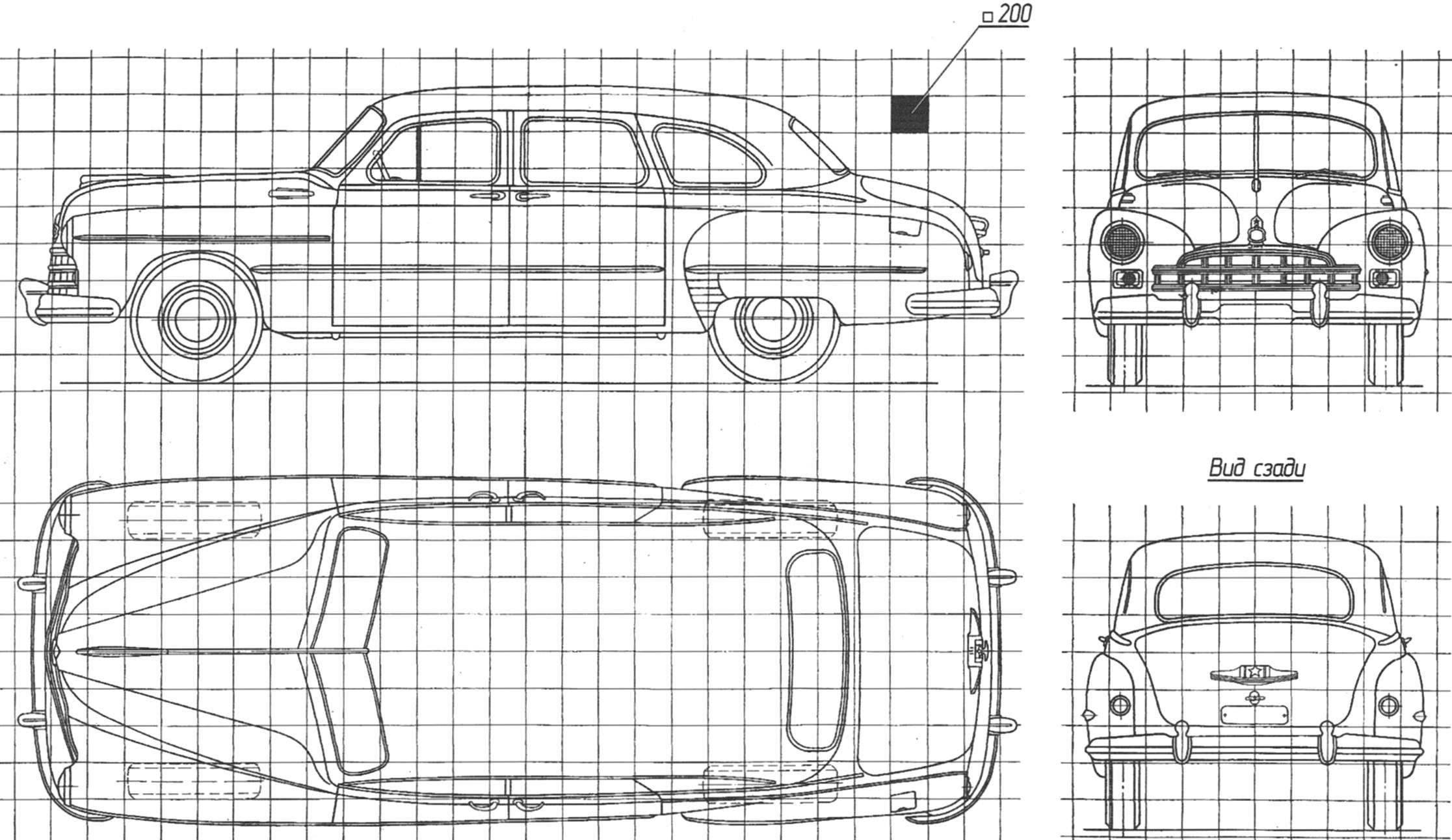 Геометрическая схема автомобиля ГАЗ-12 (ЗИМ)
