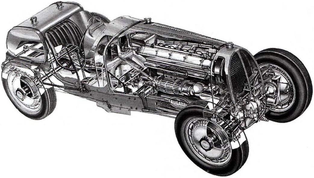 Bugatti Туре 53 — полноприводной гоночный автомобиль со 140-сильным 8-цилиндровым двигателем (1931 г.)