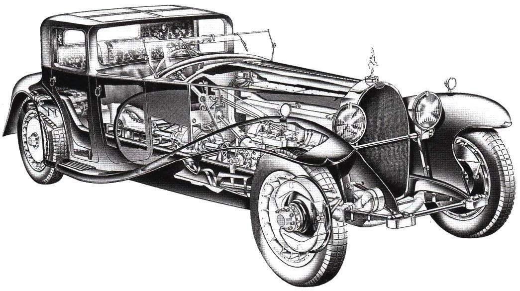 Design Round car Bugatti 41 Royale Coupe Napoleon