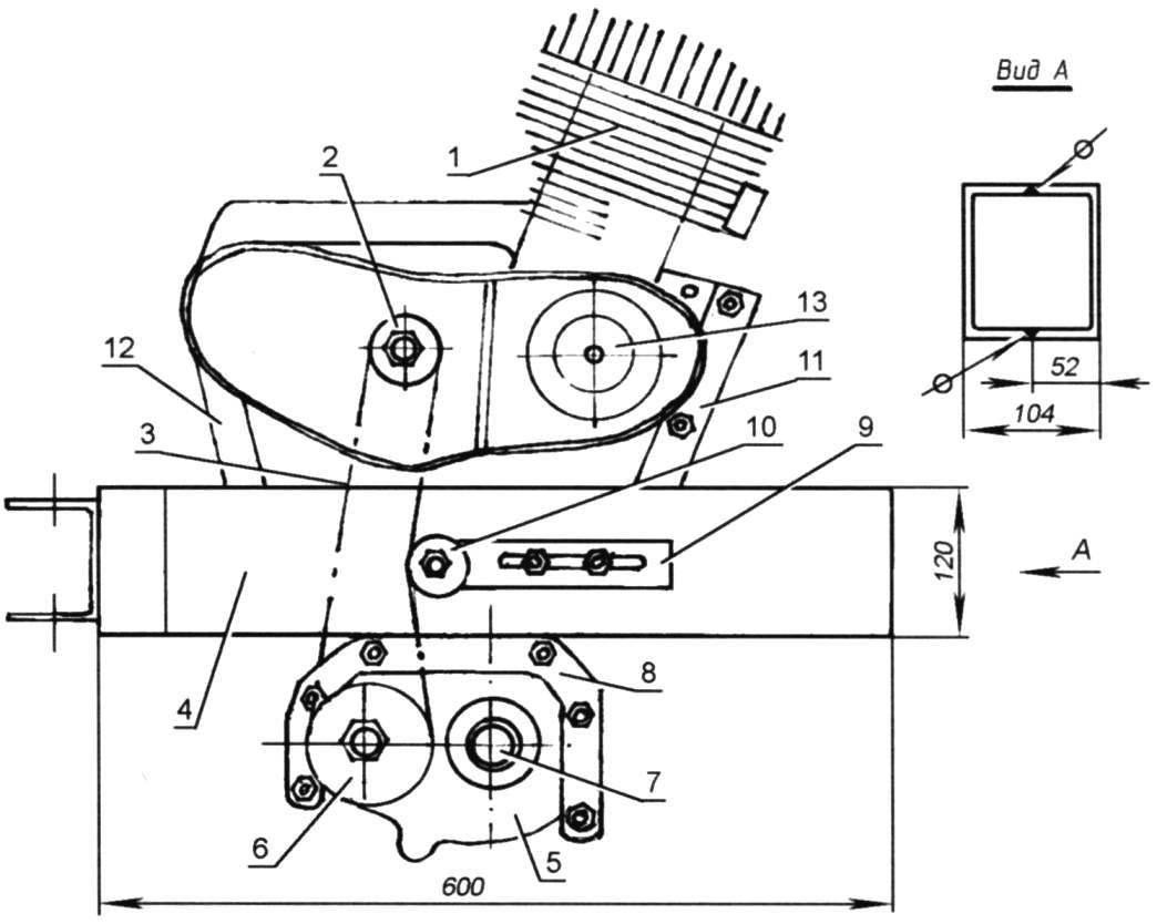Компоновка силового агрегата и трансмиссии мотоблока